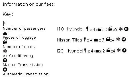 Pirate's Car Hire Informations of our fleet